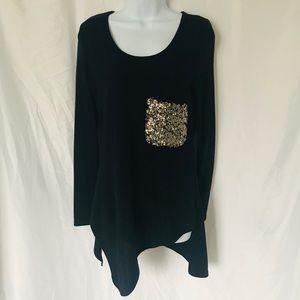 🌸Long Sleeve Asymmetrical Sequin Shirt Size M